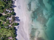 Top view of sand beach on Koh Chang island royalty free stock images