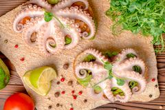 Top view of sandwiches with octopus and bread toast decorated li royalty free stock images
