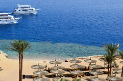 Top view of a sandy beach with sunbeds and sun umbrellas and two large white ships, a boat, a cruise liner floating in the sea on royalty free stock photography