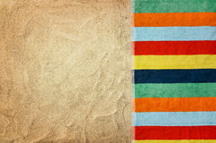 Top view sandy beach and towel. Background with copy space Royalty Free Stock Photography