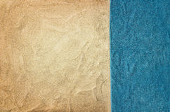 Top view sandy beach and towel. Background with copy space Stock Photography