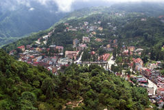 Top view of Sapa, Vietnam. Aerial view of clusters of buildings nestled in the green valley of Sapa, Vietnam Royalty Free Stock Photography