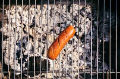 Top view of sausage grilled for outdoors barbecue stock photos