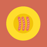 Top View of Sausages On Plate Stock Photography