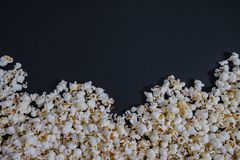 Top view Scattered salted popcorn, texture background. Clipping Royalty Free Stock Photo