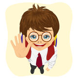 Top view of schoolboy with glasses showing five fingers. Isolated on white background Stock Image