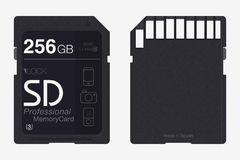 Top View SD Memory Card. Memory Chip Isolated Royalty Free Stock Image