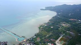 Top view of the sea and the coast. Of Koh Phangan in Thailand royalty free stock photo