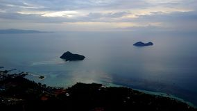 Top view of the sea on the island of Phangan in Thailand royalty free stock images