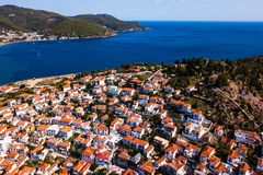 Top view Sea marina of the Poros island, Aegean sea. Greece royalty free stock images