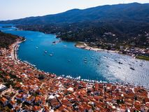 Top view Sea marina of the Poros island, Aegean sea. Top view Sea marina of the Poros island, Aegean sea, Greece royalty free stock images