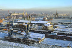 Top view of Sea Port Saint Petersburg, Russia, winter day. Royalty Free Stock Photography