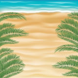 Top view sea sand beach with coconut tree leaf Royalty Free Stock Photos
