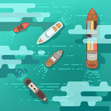 Top view sea ship and shipping boat on ocean water surface vector illustration Stock Photography