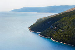 Top view of the sea strait or bay without boats and people. Quiet, calm. Croatia, Plomin Stock Photos