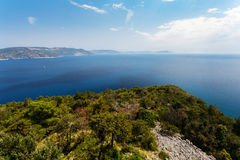 Top view of the sea strait or bay without boats and people from restaurant Vidicovac. Quiet, calm. Croatia, Plomin Royalty Free Stock Photos