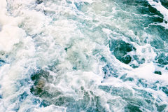 Top view of the sea waves and foam in a storm Stock Photo