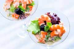 Top view of seafood cocktail starter. Royalty Free Stock Images