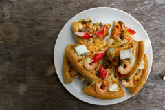 Top view of Seafood Pizza Royalty Free Stock Images