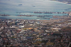 Top view of the seaport and the Bay in Cape town. Stock Photos