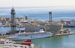 The top view on the seaport with the cruise ships 9 May 2010, Barcelona, Spain Stock Photography