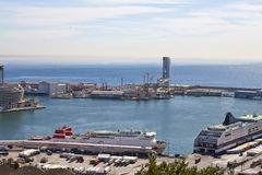 The top view on the seaport with the cruise ships 9 May 2010, Barcelona, Spain Royalty Free Stock Photo