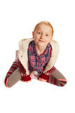 Top view of a seated girl. Top view of a seated young girl stock images
