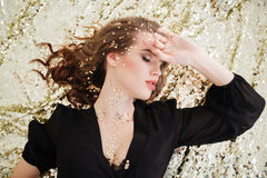 Top view of seductive charming young woman with closed eyes Stock Photography