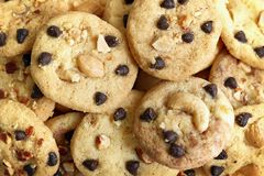 Top view and selective focus, close up chocolate chip cookies and nut royalty free stock photo