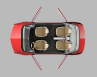 Top view of self-driving car cutaway image Stock Photography