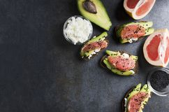 Top view of served sandwiches with avocado,cheese,grapefruit on grey table in the kitchen stock photography