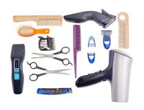 Set of hairdressing tools on a white background royalty free stock images