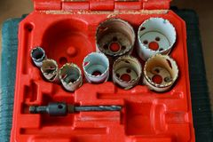 Top view of set of drills, of different gages arragned Royalty Free Stock Photo