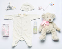 Top view set of fashion trendy stuff for newborn baby girl in so Stock Image