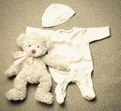 Top view set of fashion trendy stuff for newborn baby in vintage Royalty Free Stock Photos