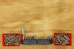 Top view of set head screw driver. On wood background Stock Images