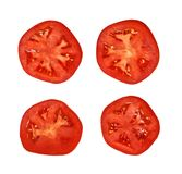 Sliced red tomato. Top view of set of sliced red tomato isolated on white background Stock Photography