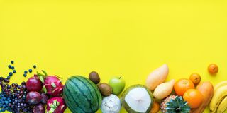 Top View Set Tropical Fruits Yellow Background Stock Photo