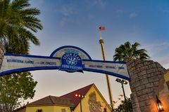 Top view of Seven Seas Food Festival and Sky Tower at Seaworld Theme Park. royalty free stock photography