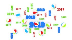 Top View of Several Beach Ball 2019 Designs with Some Balls. On a White Background vector illustration