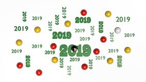 Top View of Several Billiard 8 Ball 2019 Designs with Some Balls. On a White Background royalty free illustration