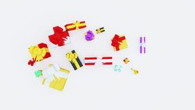 Top View of Several Christmas Gifts and Little ribbons with stars appearing in Popup royalty free illustration