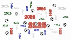 Top View of Several Football 2026 Four-Colored Designs with Some royalty free illustration