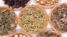 Several kind of Chinese herb medicine mixed rotating and pause. Top view several kind of Chinese herb medicine mixed rotating and pause stock video footage