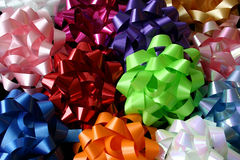 Top View of Several Multicolored Bows. This is a top view of several multicolored bows used to wrap gifts Royalty Free Stock Photography