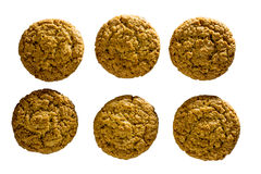 Top view of several oatmeal cookies isolated on white background. Stock Photo
