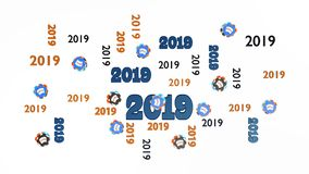 Top View of Several Poker 2019 Designs with Many Chips. On a White Background Royalty Free Stock Photo