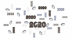 Top View of Several Rugby ball 2020 Designs with Some Balls. On a White Background vector illustration