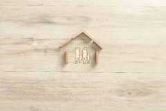 Residential house made of building wooden blocks for a family stock images