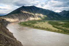 Top view of the sharp bend of the river. Indigirka River. Yakutia. Russia royalty free stock images